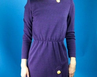 GIVENCHY Haute Couture Numbered Purple Heather Knit Wool Dress XS/S/M