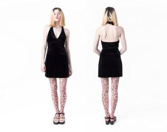 BCBG VELVET dress halter 90s mini Backless vintage stretchy low cut Small / Xs better stay together