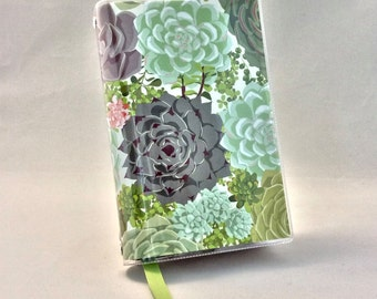 Paperback Book Cover - Reusable, Protective and Adjustable -  Small Mass Market Size - Stylish Book Cover with Green Succulent Design
