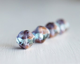 15 Pale Blue/Bronze 8mm Irregular Round Czech Glass
