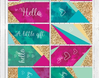Modern Gift Tags, everyday use - pink, blue, mint and gold glitter, Digital Download, Paper Squid - Item 168B
