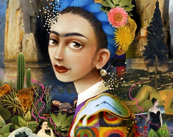 The Artist with a Pearl Earring, Disappearing - 11X14 surrealist print, frida art contemporary surrealism, mexican style art | by Meluseena