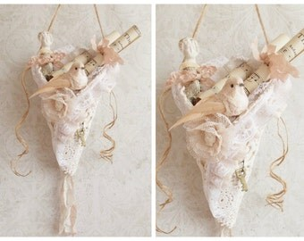 Shabby Cottage Chic Tattered Ruffles and Lace  Blush Pink and Cream Rustic Spring Tussie Mussie