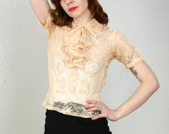 SALE- Lace Top Peach Blouse