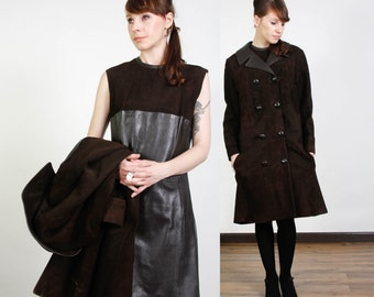 SALE - 2pc SUEDE & LEATHER Dress Coat Two Piece Set