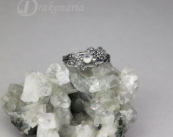 Twig ring - moonstone, sculpted flowers and twigs, limited collection
