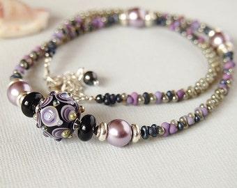 Lampwork Necklace, Mauve, Grey, Black Onyx, Sterling Silver, Glass Bead Necklace - SMOKE