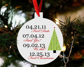 Our first Christmas ornament important dates Christmas tree ornament personalized CTIDCO