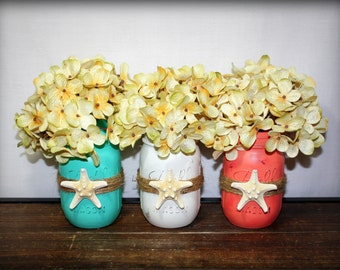 Beach Home Decor, Nautical Mason Jars with Star Fish and Twine Set of THREE, With or Without Flowers