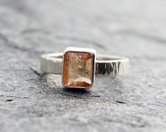 golden imperial topaz ring w/ fine silver bezel and hammered sterling silver band, rectangle topaz, natural topaz, size 8.25, mens, womens
