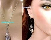 Leaf Wedding Jewelry Set, Swarovski Wedding Earrings, Crystal Bridal Necklace, Leaves Bridal Jewelry, Dangle Bridal Earrings, LEAFY