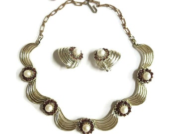 Faux Pearl & Rhinestone Necklace and Earrings Amber set Swirl Ribbon Design Vintage