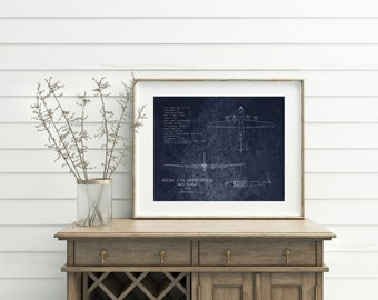 16 x 20 B-29 Superfortress airplane blueprint art print, WWII military airplane decor, aircraft, veteran gift, aviation decor, husband gift