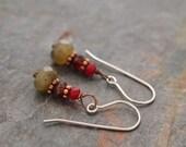 Cranberry Agate, Garnet and Labradorite Earring