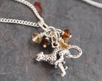 Citrine, Tourmaline and Sterling Sliver Cheetah Pendant