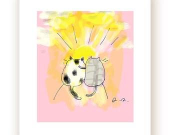 Friendship Cat Print - Summer Art - Sunset - Cat Art - Cat Gift