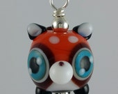 Ruby Red Panda Lampwork Glass Necklace and Cell Charm