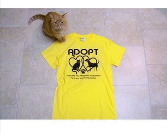 Mother gift, girlfriend gift, Adopt t-shirts, Adopt don't shop, animal rescue shirt, S - 4X, cat shirt, dog, unisex adult clothing, for her