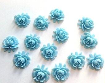 flower cabochons, plastic flower, blue color, flower cab, flat back 17 x 18 mm