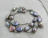 Rosy Purple Blue Gray Organic Multi Freshwater Pearl Chain Layering Necklace