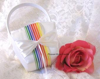 Rainbow Flower Girl Basket Satin Flower Girl Basket White Flower Girl Basket Ivory Flower Girl Basket Wedding Basket Ribbon Color Choice