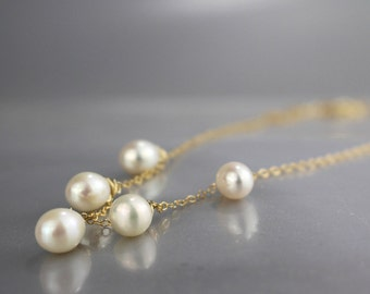 Gold Filled Pearl Necklace, Wedding Necklace, Engagement Necklace, Freshwater Pearl Necklace, Pearl Necklace, Wedding Jewelry