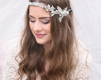 Wedding Hair Tiara, Freshwater Pearl and Rhinestone Hair Vine, Beaded Wedding Hair Jewellery Beaded Wedding Headpiece