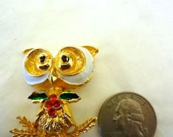 Vintage Owl Pin Holiday Brooch 1950s Corel Brand Gold Tone  1.5 inches X 1 & 1/4 inches