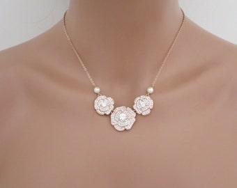 Rose Gold Flower necklace, Rose gold Bridesmaid necklace, Crystal Bridal necklace, Wedding jewelry, Wedding necklace, Pearl necklace, BELLA