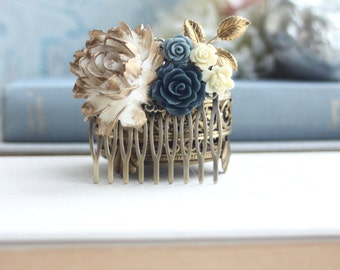 Bridal Hair Comb Gold Blue Flower Comb Ivory Gold Blue Flower Comb Dark Navy Blue Gold Leaf Comb Gold Flower Comb Vintage Rustic Blue Comb