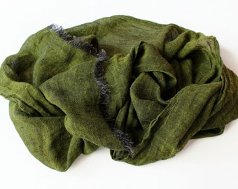 100% Linen Scarf | Dark Olive Green Man Scarf Women Scarf | Pure Linen Scarf | Organic Natural Flax Scarf | Gifts idea Boyfriend #EtsyGifts