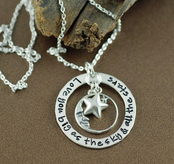 Moon and Back Necklace - Hand Stamped Jewelry - Personalized Jewelry - Love you as big as the sky - Mommy Jewelry - Sterling Silver Jewelry