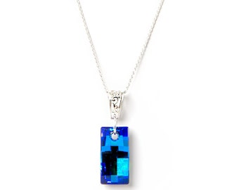 Swarovski Elements Necklace, Urban Pendant, Sterling Silver Bail and Chain