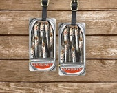 Luggage Tags Sardine Can Set,  Personalized Metal Tags, 2 Tags Custom information on Backs Choice of Straps