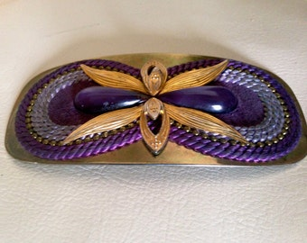 Stunning Vintage 1980's Belt Charmant of BEVERLY HILLS Floral Gold/ Purple Orchid Belt Buckle