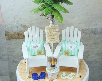 Attached To Base! Champagne For Two Personalized Beach Sign Wedding Cake Topper  Custom Colors Handmade To Order