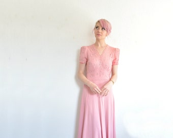 1940 pink beaded gown . floor length studded starlet dress .small .sale