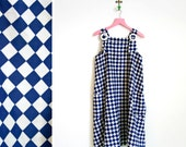 Vintage 1960s Mod Blue and White Checked Polyester Jumper With Big Plastic Buckles Size L-XL