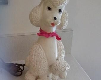 Universal Statuary Chicago 1950s Chalkware Vanity Bedroom Boudoir Poodle Lamp