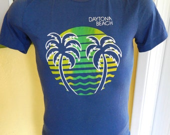 Daytona Beach 1980s vintage tee shirt – blue size medium