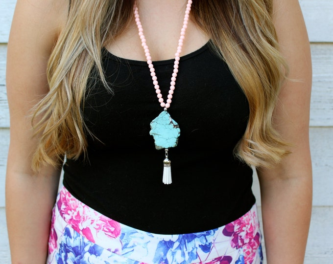 Pastel Pink and Turquoise Tassel Necklace.