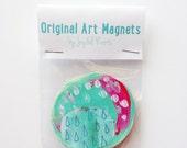 Art Magnet, Housewarming Gift, Affordable Art, Hipster Gift, Colorful Magnets, Stocking Stuffer, Fridge Art, Kitchen Art, Gifts Under 10