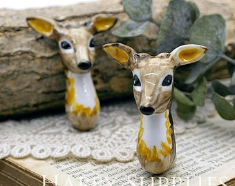 30% off - 1pcs Handmade Deer Portrait Ceramic Pendant (PC009) - [Designer Series]