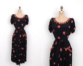 Reserved...Vintage 1940s Dress / 40s Floral Appliqué Rayon Dress / Black and Red (S M)