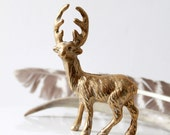 Vintage Brass Reindeer Figurine with Golden Antlers