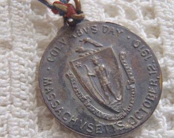 Vintage Medal Columbus Day 1912 Massachusetts