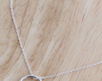 Silver Circle Necklace - Karma Necklace - Dainty Silver Circle Necklace - Organic Delicate Sterling Chain - Layered Small Tiny Everyday