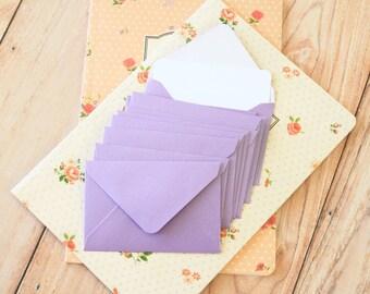 Lavender Purple Pearlescent Mini Envelopes & White Note Cards 10pc set