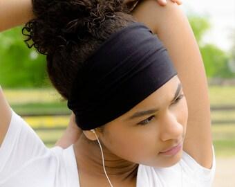 Black Headband Workout Headband Women's Headwrap Wide Head Wrap Solid Headband Black Yoga Headband Black Wide Sport Headband (#1101) S M L X