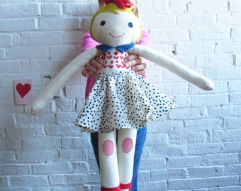 Handmade BRESHIA Doll, Limited edition, Super Soft Stuffed Doll, designed by Erin Flett